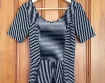 Black and white striped, scoop neck, body con, skirted bottom, leotard style ballerina top, M