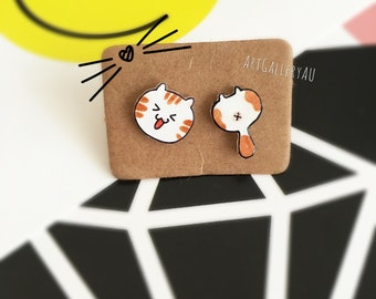 Kawaii Cat Earrings, Cute Kitty Butt Studs, Kitten Stud Earrings, Handmade Mismatched Earrings, Gift for Her