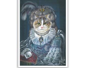 The Cat Queen / Cat Art Print / Royal Cat Portraits of Animal Century