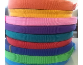 15mm Polypropylene Strap (1m/5m/10m). (9 BRIGHT Colours) Light and Strong, Resistance, Webbing, Straps, Flexible, Military Belts,