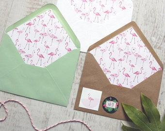 Hello Flamingo Pink Envelope Liners, Tropical Wedding Envelope Liners, Destination Wedding Envelope Liners, flamingo envelope liners