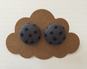 Grey with black spot fabric covered earrings