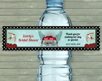 "Printable Rockabilly Polka Dot Water Bottle Labels - Bridal Wedding Shower; Personalized 8"" x 2"" Labels - Editable PDF, Instant Download"