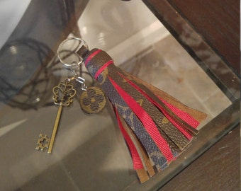Handmade key chain/bag charm made out of LV canvas
