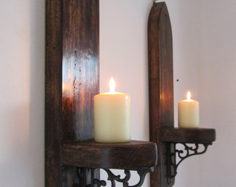 Pair of Gothic / church style reclaimed plank wood wall sconce's candle holders with beautiful cast iron brackets  various sizes available