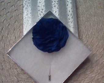 Handcrafted Blue Flower Lapel Pin