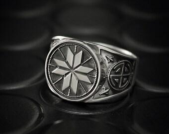 Men silver ring, Silver signet ring, Ornament ring, Unique signet ring, Silver ring for men, Gift ring for him, Signet ring for men