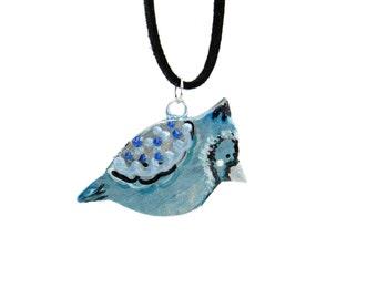 Handcrafted Artisan Polymer Clay Bird Necklace, Boho Bird Necklace, Artisan Bead Pendant