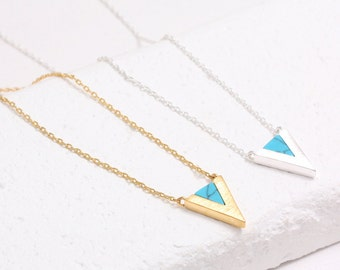 Turquoise Triangle V Chevron Charm Necklace