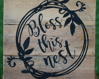 Bless this nest | Wall Decor | Reclaimed Wood Home Decor