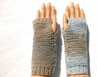 Knit Mismatched  Fingerless Gloves and Wrist Warmers, Handmade Texting Gloves, Blue and Gray Fingerless Mitts