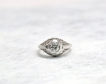 Diamond Ring | White Gold Ring | White Gold Diamond Ring | Engagement Ring | Antique Jewelry | Antique Jewellery | Antique Engagement Ring