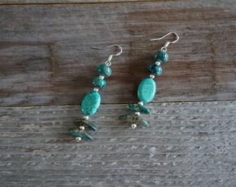 Green and Silver Drop Earrings, Dangle Earrings, Earth Tone Earrings, Green Stone Earrings, Handmade Earrings, Multi-Shade Green Earrings