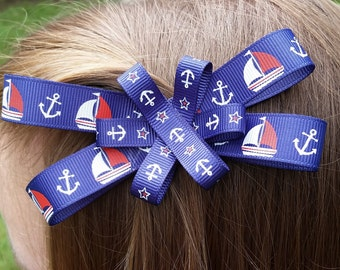 Hair Bow with Boats and Anchors