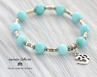 Aqua Amazonite Charm bracelet/Gemstone Jewelry/Yoga bracelet/Hamsa bracelet/Om bracelet/Yoga Jewelry/Gemstone bracelet/Om Jewelry