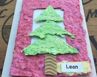 Lean In Card/Blank Card/Tree/Tree Card/Eco Friendly Card/Hand Made Paper/Reusable Card/Lean In/Share The Love/Inspirational Card