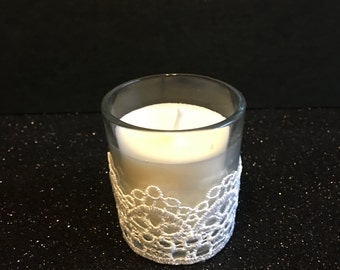 White lace votive candle, wedding candle decorations, lace theme