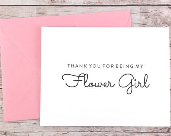 Thank You For Being My Flower Girl Card, Flower Girl Thank You Card, Flower Girl Gift, Wedding Card - (FPS0016)
