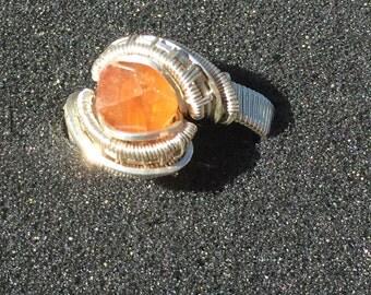 Spessartite garnet ring size 7