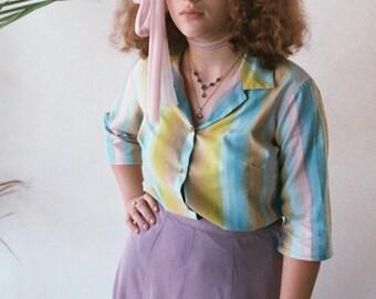 70s Button Up Quarter Length Colorful Blouse