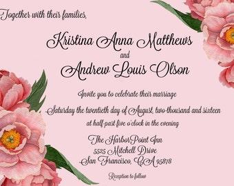 Soft Pink Blushing Bride Wedding Invitation Set - PRINTED