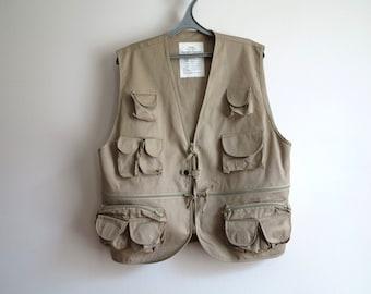 Beige Mens Vest Tropical Light Brown Waistcoat Hunter/Angler Vest Extra Large Size