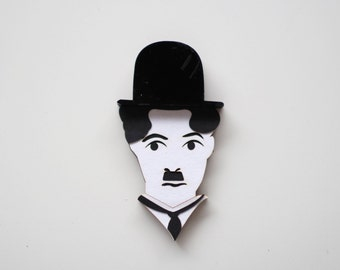 Charlie Chaplin Laser-cut Wood Pin / Brooch / Laser cut jewellery