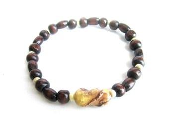 Mens wooden bracelet, elastic men bracelet, wood beaded bracelet, brown wood bracelet, wooden beads men bracelet