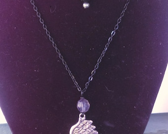Raven wing pendant multi strand Gothic necklace on black chain