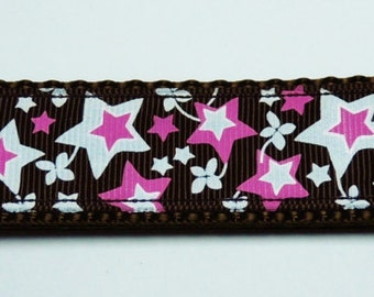 Large Pink/White Stars Dog Collar