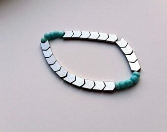 Aqua Chevron Bracelet