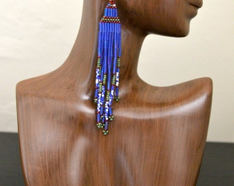 Extra Long Blue-Violet Beaded Earrings