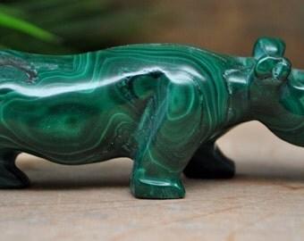 Malachite Crystal Rhino Sculpture - Stone Animal Figurine-  1220.35