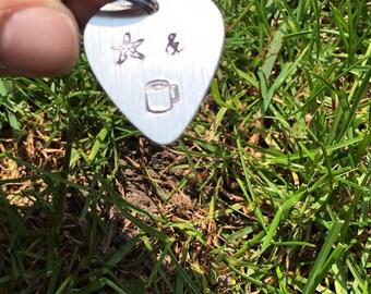 Starfish and Coffee Guitar Pick Keychain