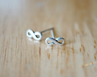 Infinity Studs Infinity Post Earrings Infinity Earrings in Sterling Silver Stud Earrings Infinity Studs