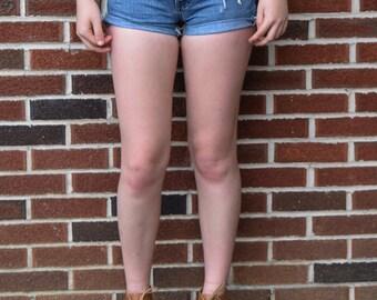 Distressed Denim Shorts High Rise