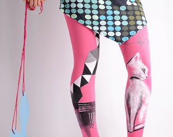 Hand-painted Tights, High Fashion, Stockings, Pantyhose, Unique Women Tights, Fashion Brand, Geometric, Geometrysm collection, Cat, Abstract