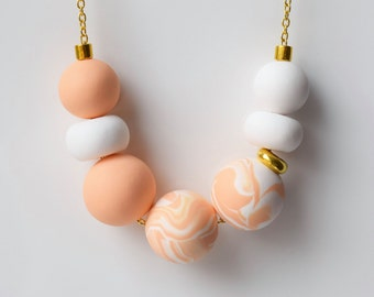 Peach Statement necklace, Pastel Bead necklace, Handmade Minimalist necklace, Polymer clay necklace, Pastel jewelry, Geometric Modern gift