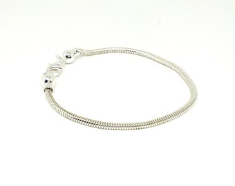 """7.5"""" European Style Bracelet, Caprice Chain, Silver Plated  Snake Chain, Interchangeable Charms, Removable Ball End,Bracelet Findings,HC6622"""