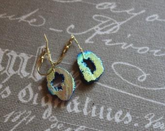 Blue Druzy Agate Geode Earrings
