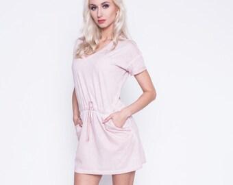 Pink women dress - Active life dress - Women short dress - Cotton summer dress - Sporty mini dress - Beach dress - Tennis dress - UM42-12