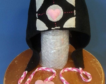 Portal Companion Cube Heart Winter Tie Hat Handmade Hand-stitched