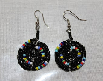 Small Maasai Disc Black Multi-colored Beaded Earrings