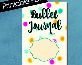 Bullet Journal Cover, composition notebook cover, printable, notebook cover, bullet journal accessories, bright colors, polka dots, blue