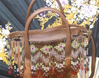 beaded, reall learther handy and crossbody, bag