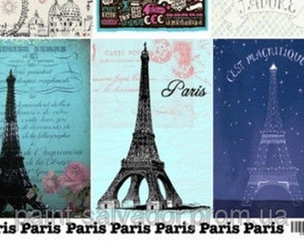 France, Paris, vintage, Eiffel Tower, Decoupage paper, decoupage sheet, collage sheet, scrapbooking sheet, book cover, decoupage furniture