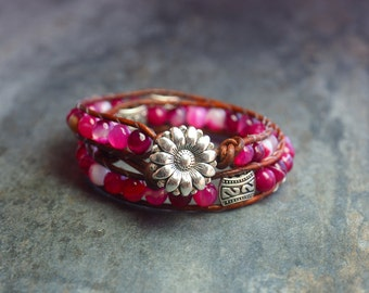 Wrap in pink agate and leather bracelet.