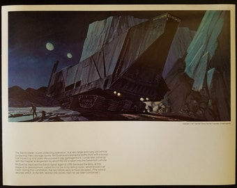 Vintage 1978 Star Wars A New Hope Jawa Sandcrawler by Ralph McQuarrie 11 x 14 Production Art Print