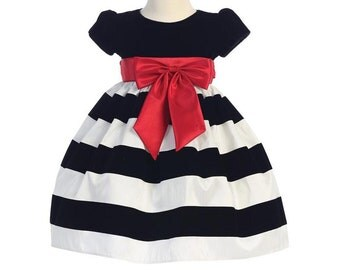 Black and White Velvet and Taffeta Striped Christmas Holiday Girls Dress with Red Satin Sash.  2T Infant Toddler Girl's Holiday Dress