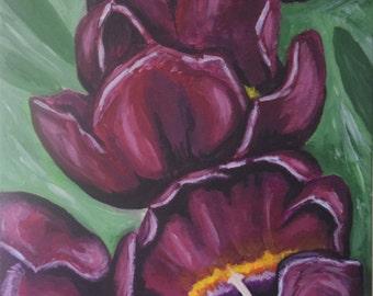 Original Canvas Painting 'Purple Amaryllis'